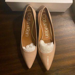 Calvin Klein Nude Patent Leather Pumps Heels